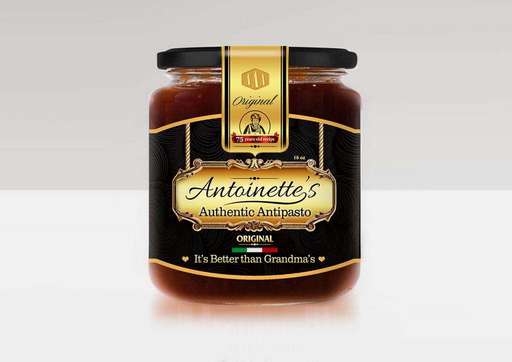 Antoinette's Authentic Antipasto Jar Label